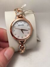 New Bulova Ladies Rose Gold Tone with Swarovski Crystals Dress Watch 98L207 R1B