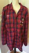 "Disney Store Men's Red Plaid Mickey Mouse "" Dad"" Pajama Top Size XL EUC"
