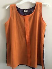 Blog Brand Sz L Orange Navy Bicycle Pattern Semi Sheer Tank Top Cami Blouse