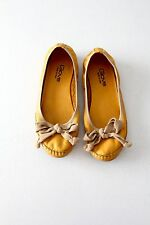 Giove leather flats yellow Italian ballet slippers size 7.5