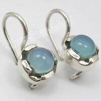 Aqua Blue GIFT, CABOCHON CHALCEDONY 6  mm STONE Handcrafted Earrings 0.7 Inch