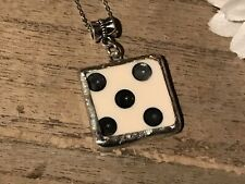 Recycled Broken Game Tile Jewelry, Domino Pendant