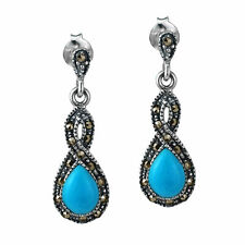Infinity Twirl Turquoise Resin and Marcasite .925 Silver Earrings