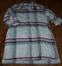 NWT DKNY Cream/Black/Pink COZY PLAID Button-Front Sleep Shirt Gown M POCKETS