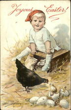 Easter - Little Boy Sits on Box of Eggs Hatching Chicks Jenny Nystrom Postcard