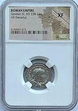 ROMAN EMPIRE GORDIAN III - AD 238-244 - AR DENARIUS NGC XF - FREE SHIPPING!
