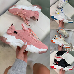 New Womens Chunky Sole Lace Up Trainers Ladies Shoes Sizes 3-8