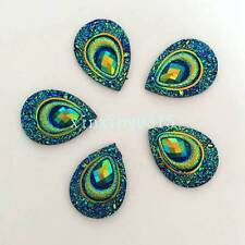 Hot 10pcs AB drop Resin Peacock eye Flatback Rhinestone Wedding 2 hole buttons