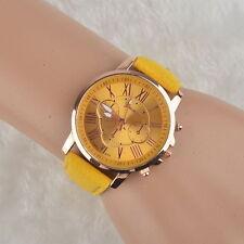 Sheside Women Geneva Roman Numerals PU Leather Analog Quartz Yellow WristWatch