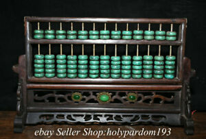 """14.4"""" Old Chinese Wood Turquoise Dynasty Count Tool Abacus Statue Sculpture"""