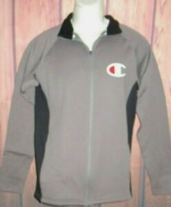 MENS CHAMPION GRAY BLACK SPORTS FLEECE TRACK JACKET SIZE S