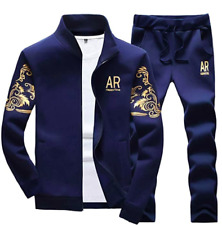 MANTORS Mens Hooded Tracksuit Full Zip Jogging Gym Sweat Suits Sz XXL -Navy Blue