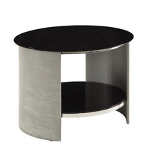 Jual Furnishings Jf303 Round Lamp / Side Table in Grey Ash With Black Glass