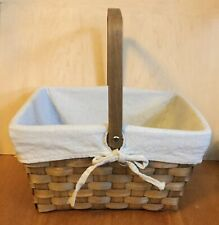 """Woven Basket with Hinged Handle and Fabric Liner 11 1/2"""" x 10"""" longaberger style"""