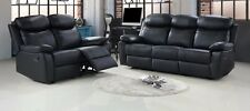 Real Leather 3+2 Seater Recliner Sofa Set in Black with 4 reclining action seats