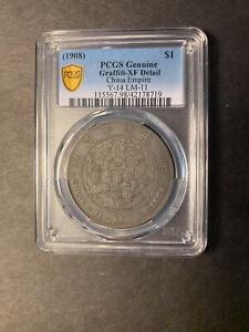 Empire silver dragon dollar 1908 L&M-11 toned PCGS XF grafitti