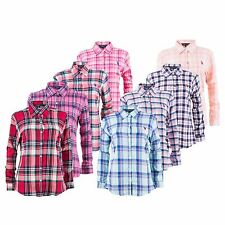 Women's U.S. Polo Assn Casual Long Sleeve Check Shirt Top Blouse