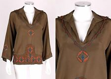 Couture c.1920's Vintage Bohemian Silk Embroidered Tunic Shirt Blouse Top S / M