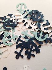 100 Navy White Blue Anchor Die Cuts Confetti Scrapbook Cut Outs Nautical Punch