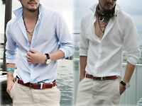 2020 Mens Casual Washed Cotton Linen Long Sleeve Shirts Breathable Shirts NEW