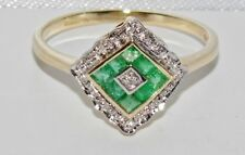 9ct Yellow Gold Emerald & Diamond Art Deco Design Square Cluster Ring size M