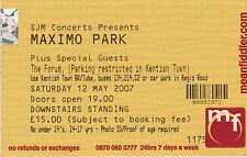 Original Maximo Park Ticket Stub The Forum 12th May 2007