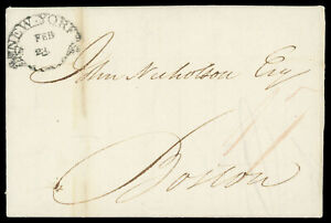 """1802 New York """"clamshell"""" postmark red ms. """"17"""" rate letter to Boston MA"""