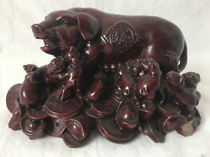 Chinese Pig Coin Figurine Statue Feng Shui Wealth Yuanbao Red Resin Piglet Money