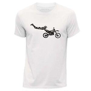 STUFF4 Men's White Round Neck T-Shirt/Stencil Art/Motorcross/Stunt/SZ
