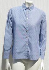 LAND'S END Women's Striped Swiss Dot No-Iron Supima Cotton Shirt size 10P EUC
