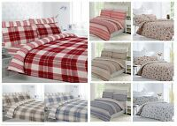 Thermal 100% Brushed Cotton Flannelette Duvet Cover / Bed Sheet Set Winter Warm