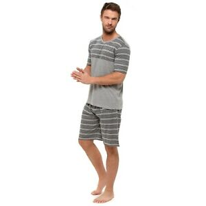 Mens Striped v Neck Summer Shortie Short Shorty Pyjamas M L XL 2XL GREY