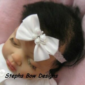 White Satin Butterfly Dainty Hair Bow Headband 4 Preemie Newborn to Toddler