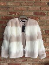 Zara Woman Nude Off White Faux Fur Jacket Coat M BNWT