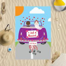 "58 x 39"" Beach Towel Just Married Car Design Microfibre Wedding Honeymoon Pool"