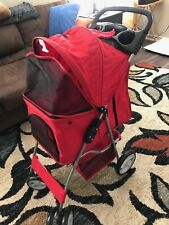 Pet Stroller for Cat Dog 4 Wheeler Walk Stroller Travel Folding Carrier Red