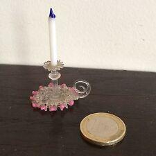 Verrerie Miniature XIX 1 Bougeoir A Main Rose Venise Jouet Poupee Doll Toy 19th