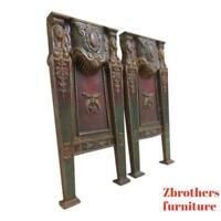 Victorian Masonic Architectural Salvage Cast Iron Theater Seat Industrial legs C
