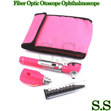 FIBER OPTIC Otoscope Ophthalmoscope Examination LED Diagnostic ENT SET Kit-Pink