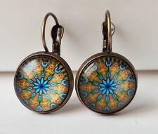 Ohrhänger Ethno Vintage Retro Mandala floral Cabochon blau gelb antik bronze