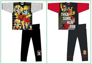 Boys Treasure Island X Pyjamas Nightwear PJs Black Red Grey 4 5 6 7 8 9 10 Yrs