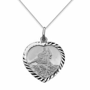 9ct White Gold Heart Shaped St Christopher Pendant Necklace