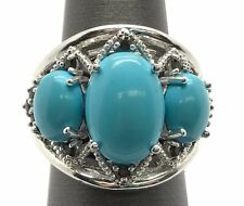 Sterling Silver Triple Oval Turquoise - Smoky Quartz Cable Chunky Statement Ring