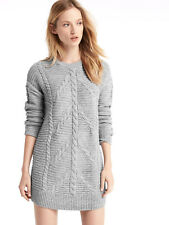 NEW GAP GREY GRAY CABLE KNIT KNITTED JUMPER SWEATER DRESS TUNIC XS 8 10 4 6 36