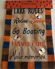 """Rustic Burlap Yard Flag 12"""" x 18"""" Lake Rules"""