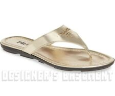 PRADA Pirite 37.5 Patent leather CREST LOGO flat Thong sandals NIB Authentc $495