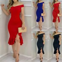 Women Party Dress Glitter Cold Off Shoulder Ruffle Skirt Bodycon Slit Dresses