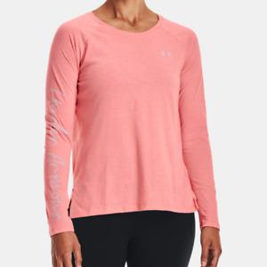 Under Armour Women's UA Script Long Sleeve Shirt. Powder Pink/Rosewater