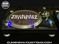 2 custom Matte black & chrome Technics SL 1200 mk2's blue leds laser etch logos