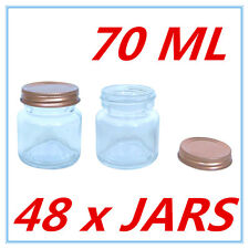 48 x Mini Dessert Candy Glass Jar w/h Screw Top ROSE GOLD Lid AIRTIGHT 70ml A
